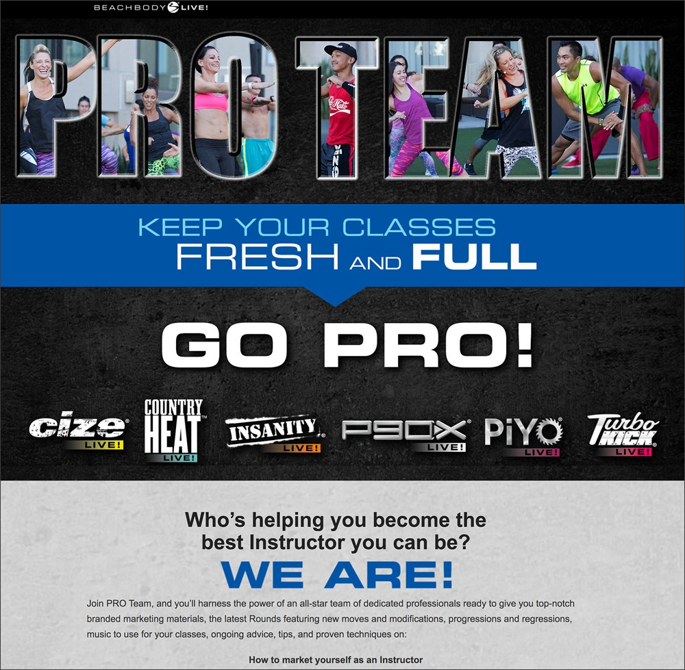 Beachbody Pro Team Landing Page
