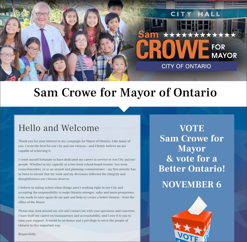 Sam Crowe for Mayor Website