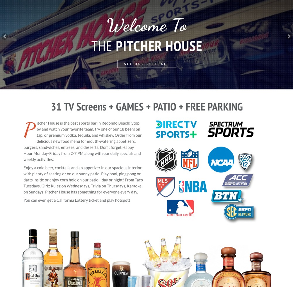 Pitcher House Bar & Restaurant Website