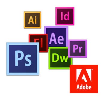 We use Photoshop, Illustrator, Acrobat and more Adobe programs