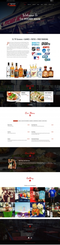 Pitcher House HTML5 Landing Page showing menus and specials